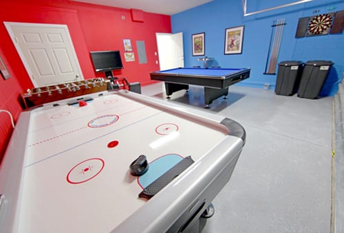 A Games Room with Pool, Air Hockey, Foosball and Dart Board