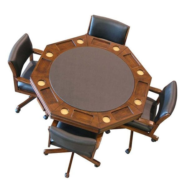 Chestnut Combination Game Table Set with 4 Chairs