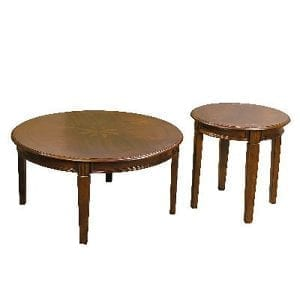 Classic Round Coffee Table and Matching Accent Table