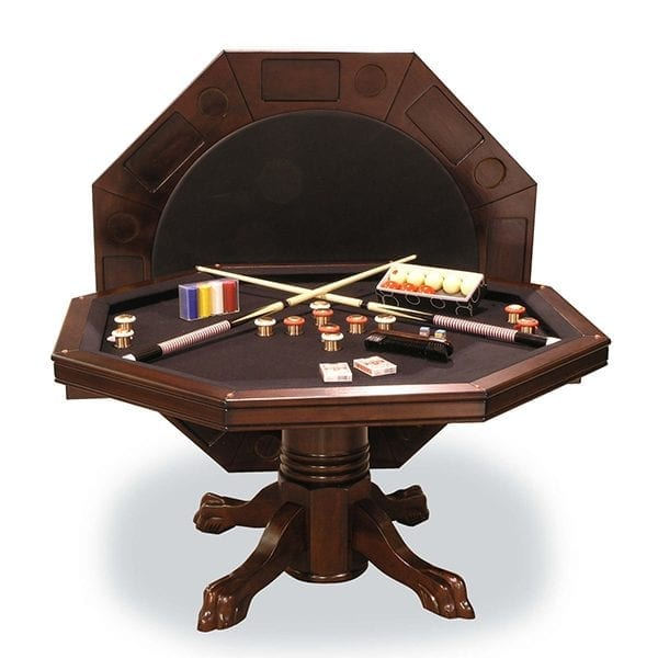 Mahogany Combination Game Table with Bumper Pool