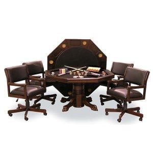 Mahogany Combination Game Table Set with 4 Chairs