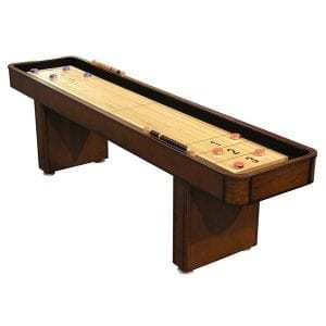 Chestnut Shuffleboard Table with Storage Cabinet